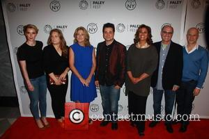 L to R, Betty Gilpin, Merritt Wever, Edie Falco, Adam Ferrara, Anna Devere Smith, Richie Jackson and Clyde Phillips