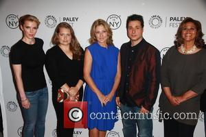 L to R, Betty Gilpin, Merritt Wever, Edie Falco, Adam Ferrara and Anna Devere Smith