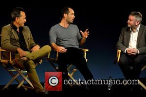 Jude Law and Richard E Grant - Stars from the film 'Dom Hemingway' speak at the Apple Store on Regent...