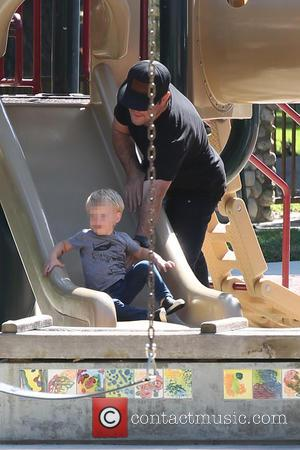 Mike Comrie and Luca Comrie - Mike Comrie takes his son Luca to Coldwater Canyon Park in Beverly Hills -...