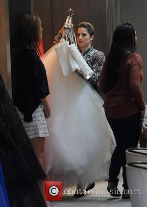 'Glee' star Naya Rivera shopping for her wedding dress at the Monique Lhuillier boutique in Beverly Hills. The actress took...