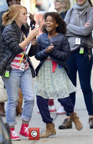 Quvenzhane Wallis - Jamie Foxx and Quvenzhane Wallis on the film set of 'Annie' shooting in New York City -...