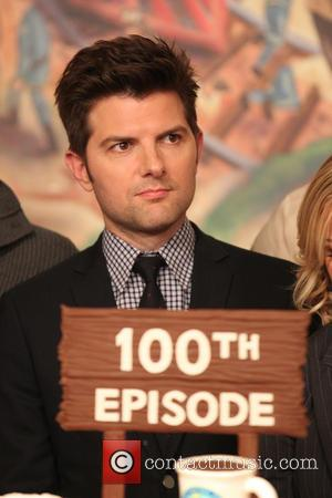 Adam Scott - NBC hit television show Parks And Recreation 100 Episodes Cake at The NBC Universal studio with Amy...