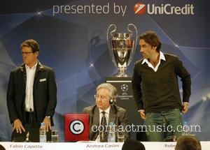 Fabio Capello and Robert Pires - UEFA Champions League Trophy Tour presented by UniCredit - Sofia, Bulgaria - Friday 18th...