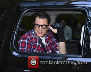 Johnny Knoxville - Johnny Knoxville leaving ABC Studios after appearing on 'Live! with Kelly and Michael'. Knoxville has a brace...