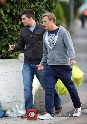 Ben Hardy and David Witts - Eastender cast members, Ben Hardy and David Witts seen taking a break from filming...