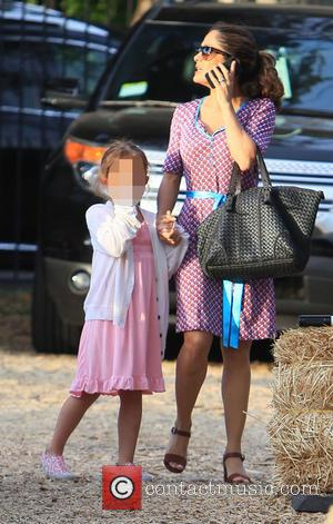 Salma Hayek and Valentina Pinault - Salma Hayek takes her daughter Valentina Pinault to Mr.Bones Pumpkin Patch in West Hollywood...