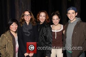 Ann Harada, Tina Fey, Harriet Harris, Laura Osnes and Santino Fontana - Tina Fey visits the cast of Broadway's Cinderella,...