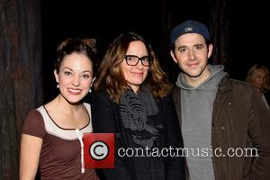 Laura Osnes, Tina Fey and Santino Fontana - Tina Fey visits the cast of Broadway's Cinderella, backstage at the Broadway...