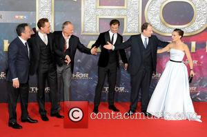 Louis D Esposito, Tom Hiddleston, Alan Taylor, Natalie Portman, Chris Hemsworth and Kevin Feige