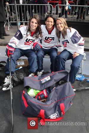 Hockey, Hilary Knight, Julie Chu, Meghan Duggan and Celebration
