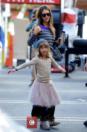 Jessica Alba and Honor - Actress Jessica Alba brought her little princess Honor to work as she gets ready for...