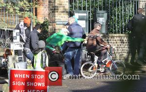 Ricky Gervais' body double - Ricky Gervais filming for the new Channel 4 TV series 'Derek' in North London. Gervais'...