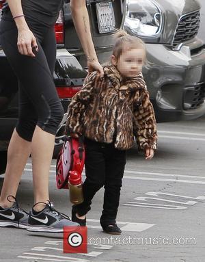 Delilah del Toro - Kimberly Stewart brings her daughter Delilah del Toro to school wearing a fashionable fur coat -...