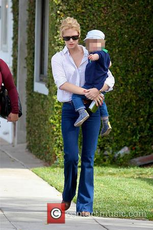 January Jones and Xander Dane Jones - January Jones takes her son, Xander to have hair cut in Beverly Hills...