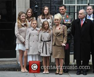 Barbara Windsor, Alastair Stewart and The Poppy Girls - London Poppy Day 2013 held outside No.10 Downing Street - Photocall...
