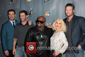 Carson Daly, Adam Levine, Ceelo Green, Christina Aguilera and Blake Shelton