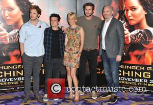 Sam Claflin, Josh Hutcherson, Elizabeth Banks, Liam Hemsworth and Francis Lawrence