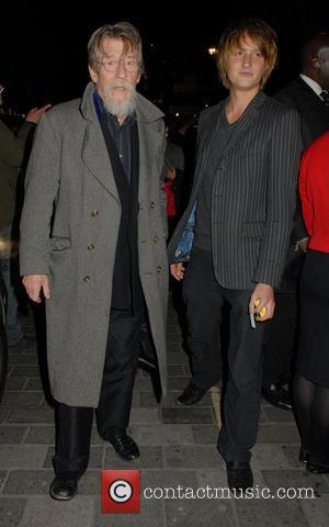 John Hurt - Celebrities leave Barry Humphries' Farewell Tour 'Eat Pray Laugh!' press night at The London Palladium - London,...