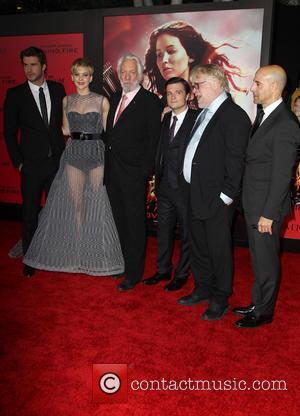 Liam Hemsworth, Jennifer Lawrence, Donald Sutherland, Josh Hutcherson, Philip Seymour Hoffman and Stanley Tucci