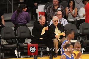 Jack Nicholson - Celebrities at the Lakers game. The Los Angeles Lakers defeated the Golden State Warriors by the final...