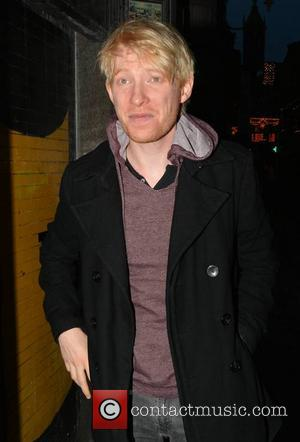 Domhnall Gleeson - Irish actor Domhnall Gleeson seen sporting bleach-blonde hair for his 'Unbroken' role while walking along Georges Street...