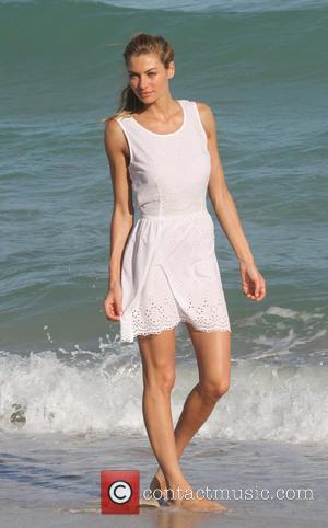 Jessica Hart - Models Jessica Hart and Emanuela de Paula pose during a photo shoot in Miami Beach - Miami...