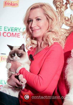 Angela Kinsey and Grumpy Cat - Friskies Christmas music video launch hosted by Angela Kinsey at Capitol Records. Internet celebrity...