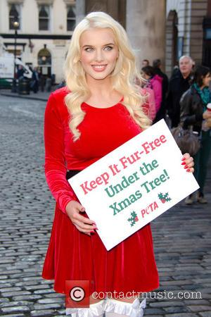 Helen Flanagan - Helen Flanagan dresses as sexy santa for PETA Christmas campaign photocall in Covent Garden - London, United...