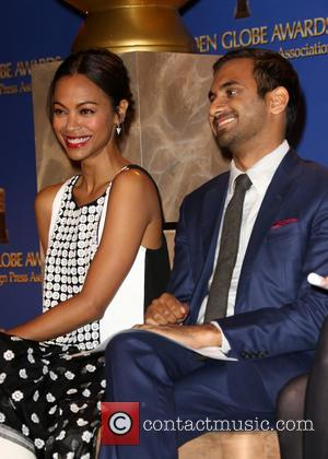Zoe Saldana and Aziz Ansari