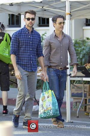 Brad Goreski and Gary Janetti - Brad Goreski and his partner Gary Janetti shop for produce at a local Farmers...