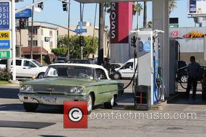 Benji Madden - Benji Madden pumping gas in West Hollywood in his mint green classic 1963 Ford Galaxie - Los...