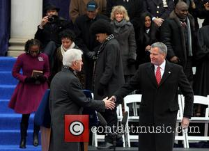 Bill Clinton and Mayor Bill De Blasio