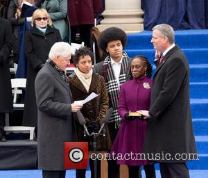Bill Clinton, Chiara Deblasio, Dante Deblasio, Chirlane Mccray and Bill Deblasio