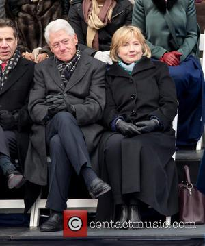 Bill Clinton and Hillary Clinton - Inaguration ceremony of Bill De Blasio at City Hall making him the 109th mayor...