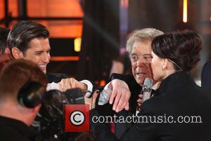 Ollie Locke, Lionel Blair and Emma Willis - Celebrity Big Brother 2014 - Contestants Enter The House - Borehamwood, United...
