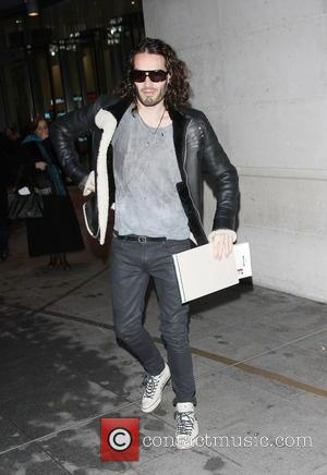 Russell Brand - Russell Brand leaving BBC studios at night wearing his sunglasses - London, United Kingdom - Monday 6th...