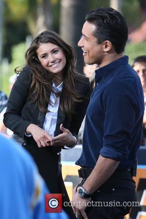 Nina Dobrev and Mario Lopez - Nina Dobrev visits Universal Studios where she was interviewed by Mario Lopez for television...