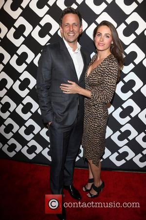 Seth Meyers and Alexi Ashe - Diane Von Furstenberg's Journey Of A Dress Exhibition Opening Celebration At May Company Building...