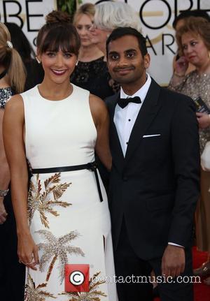 Rashida Jones and Aziz Ansari - 71st Annual Golden Globe Awards held at The Beverly Hilton Hotel  - Red...