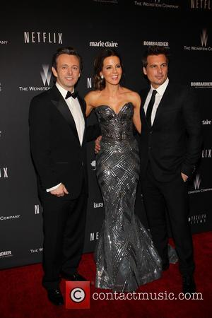 Michael Sheen, Kate Beckinsale and Len Wiseman - The 71st Annual Golden Globe Awards - Weinstein Party  at The...