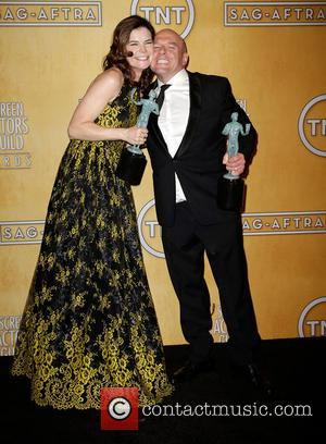 Betsy Brandt and Dean Norris - Celebrities pose with awards at 20th Annual Screen Actors Guild Awards press room at...