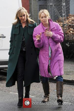 Tamzin Outhwaite - Tamzin Outhwaite on a film set in North London - London, United Kingdom - Wednesday 22nd January...