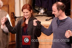 Debra Messing and Brian F. O'Byrne - Opening Night of Broadway's Outside Mullingar at the Friedman Theatre - Curtain Call....
