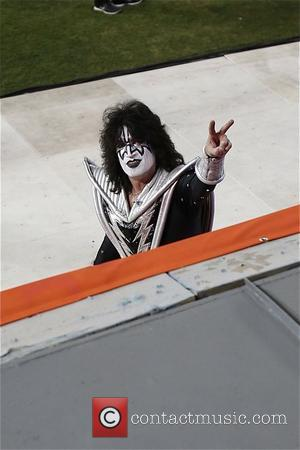 KISS - KISS perform live at the Dodgers Stadium ahead of the game between Los Angeles Kings and Anaheim Ducks...