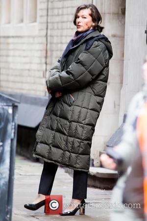 Milla Jovovich - On the set of new film 'Survivor' in Central London - London, United Kingdom - Saturday 25th...