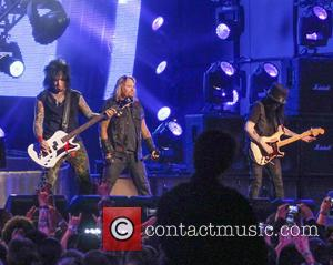 Motley Crue, Vince Neil, Nikki Sixx and Mick Mars - Motley Crue perform on Jimmy Kimmel Live - Hollywood, California,...