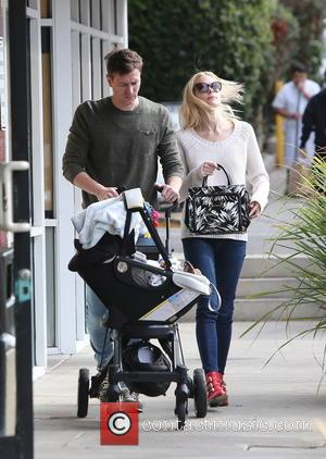 Jamie King and Kyle Newman - Jamie King and her husband, Kyle Newman out and about with their son, James...