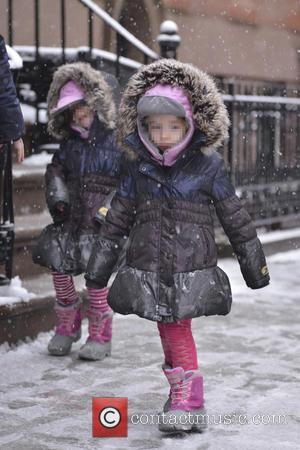 Matthew Broderick, Marion Broderick, Tabitha Broderick and James Broderick - Matthew Broderick takes his children to school during a snow...