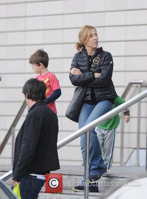 Sheryl Crow, Wyatt Crow and Levi Crow - Sheryl Crow leaves The Lowry Hotel with her family - Manchester, United...